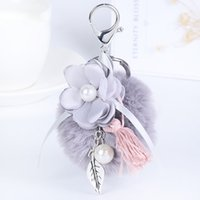 Wholesale Flower Keyrings - Tassel Pearl Flower Ball Pompom Keychain Car Keyring Rabbit Fur Ball Keychain Fur Brand Pompons Bag Charms With Chains Keyring