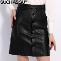 Wholesale Pu Leather Xxl Women - Fall Winter Skirts Women 2016 Brand Knee-Length PU Leather Skirt S M L XL XXL XXXL Plus Size Single-Breasted Black Skirt Female