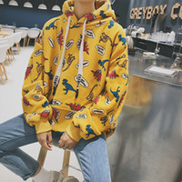 Wholesale Fresh Hoodies - Autumn And Winter Fresh Cartoon Dinosaur Printing Down Thickening men hoodies sweatshirts Free shipping