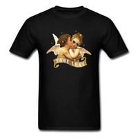 schöne liebhaber baby großhandel-Wahre Liebe 2018 Schöne Männer T-Shirt Zwei Baby Angle Kiss Print Adult Nettes T-Shirt Valentines Lover Custom Black Tops
