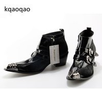 Wholesale metal toe boots - 2017 Metal Pointed Toe Men Shoes Buckles Cool Ankle Boots Zipper High Quality Shoes Chunk Heels Winter Botas For Man Size 38-46
