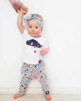 kleinkind t-shirt druck großhandel-Neue 2018 Sommer Baby Mädchen Kleidung Neugeborenen Kurzarm Farbe gedruckt T-shirt + Pants + Stirnband 3 Stücke Kleinkind Säuglings Kleidung Set