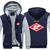 ingrosso maglia russa xxl-2018 New Russian FC League Giacca invernale Spartak Moscow Jersey Zipper Felpa con cappuccio in pile felpe cappotto addensare
