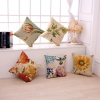 Wholesale sunflower prints - Fashion retro sunflower printed animal floral pillows linen soft waist pillow case high quality cushion for hotel home decor pillow cover