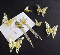 ingrosso cappelli da sposa a farfalla-Acconciatura da sposa New Baroque Golden Butterfly Hairpin Earrings Set Combinazione di accessori per capelli da sposa