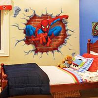 abnehmbarer wandaufkleber spiderman großhandel-WAQIA-New Spiderman Dreidimensionale Durch Die Wand Cartoon Kinder Schlafzimmer Hintergrund Entfernbare Wandaufkleber (Größe: 45 cm x 50 cm)