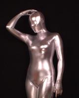 traje de látex de corpo inteiro venda por atacado-Prata Full Body Spandex / Lycra De Látex De Borracha Zentai Terno Metalizado Catsuit Costume Cos Fancy Dress B003