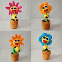 Wholesale style flower toy for sale - Sunflower Funny Style Sax Sing Dance Doll Plush Luminescence Electric Music Toys Enchanting Flowers Children Gift High Quality xb Z