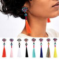 Wholesale 14k Vintage Earrings - 10.9cm Vintage 8 Colors Cotton Tassel Drop Earring Resin Gemstone Chandelier Bohemia Punk Ethnic Dangles for Women
