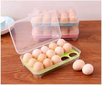 essen abstellraum großhandel-Single Layer Küche Kühlschrank Essen 15 Eier Luftdichten Vorratsbehälter Tragbare Kunststoff Ei Aufbewahrungsbox W7459