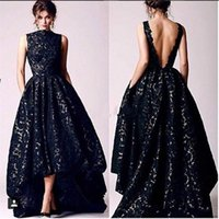 Wholesale low cut formal dresses - 2018 Arabic Black Lace Evening Dresses Vintage High Neck V Cut Backless High Low Prom Dress Formal Occasion Pageant Party Gowns BA4479