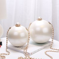 Wholesale White Pearl chain shoulder evening bags for women acrylic material ball shape crossbody bags sizes for choices