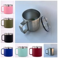 Wholesale double wall color - 7 Colors 14oz Kid Milk Cup Stainless Steel Cup With Lid Double Wall Vacuum Insulated Mugs Metal Wine Glass GGA274 120pcs