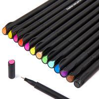 Wholesale fine pens sets resale online - 12PCS Set Color mm Fiber Gel Pen Fineliners Sketch DrawingFelt Tip Fine Hook Line School Wriing Pen