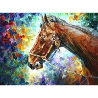 ingrosso pittura a olio di trasporto di goccia-vendita calda su tela pittura a olio di cavallo Full Paste cotone Piazza Cross Stitch Home Decoration Paintings drop shipping
