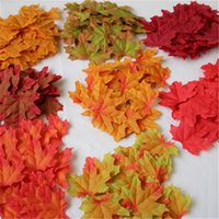 Wholesale wholesale silk maple leaves - 50pcs 1set Artificial Maple Leaves 6.5cm Mini Fake Simulation Leaf For Wedding Birthday Party Decorations Have Many Colors 1 4jj ZZ