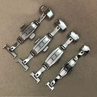 Wholesale watch strap parts online - Watch Accessories Belt Strap polishing Buckle Stainless Steel Double Butterfly Buckle size mm mm Watch Strap Butterfly Buckle for watch