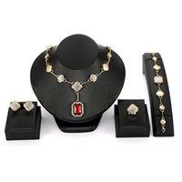 conjuntos de jóias colar de pulseira venda por atacado-Conjuntos de Jóias de ouro Casamento Nigeriano brincos colar Africano Bridal Jewellery Set anel Pulseira Strass etíope parure