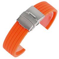 ingrosso ragazzi orologio arancione-Cinturino per orologio in gomma siliconica arancione impermeabile morbido Ourdoor 20mm 22mm Cinturino con fibbia pieghevole da 24 mm Bracciale unisex per bambina
