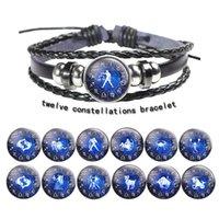 braceletes do horóscopo do zodíaco venda por atacado-Novo Zodíaco Snap Botão charme Pulseira 12 Constelação Pulseiras Horoscope Anchor Pulseira De Couro Pulseiras Das Mulheres Dos Homens de jóias