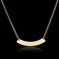 courbure d'or achat en gros de-Bent collier pendentif collier cadeau personnalisé en acier inoxydable 316L couleur or personnalisé Nom personnalisé Bar collier personnalisé pour les femmes