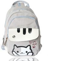 mochilas impresas gato al por mayor-Lindo Juego Japonés Cat Backyard Printing Backpack Mujeres Bolsas de Escuela Para Adolescentes Niñas Estilo Universitario Mochila Casual en stock Envío gratis