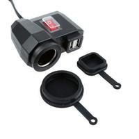doble salida usb al por mayor-1x Impermeable de la motocicleta 2.1A Dual USB Power Outlet Port Smart Phone Charger Kit