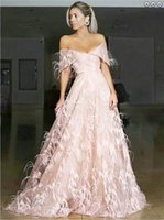 Wholesale evening dresses ostrich feathers resale online - Formal Evening Dresses A Line Off the Shoulder Sweep Train Pink Lace Prom Dress with Ostrich Feather Long Floor Length V neck Party Gowns