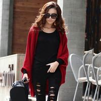 cardigans de lana roja al por mayor-Las nuevas mujeres sueltan las mangas Batwing del chal de señora Knit Coat Woolen Cardigans femeninos Red / Black Free SizeSweater