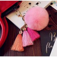 Wholesale plush rabbit purse - Cute Plush Keychains Rabbit Fur Ball Keyring Pom Keyring Women Lady Car Bag Purse Charm Key Buckle Pendant 4 98ty Y