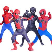 terno preto do homem-aranha dos miúdos venda por atacado-Spider Man Traje Cosplay Trajes de Halloween Para O Menino Menina Preto Superhero Fantasia Crianças e adulto homem-aranha terno do regresso a casa