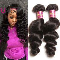 Wholesale human loose curl hair bundles for sale - Group buy UNice Hair Brazilian A Virgin Loose Wave Bundles Unprocessed Human Hair Extensions Cheap Nice Curl Hair Weave Bundles