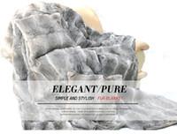 Wholesale fur carpet rug - CX-D-09A 150x130cm Custom Made Natural Colour Rabbit Fur Carpet Blanket Area Rug~ DROP SHIPPING