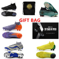 Wholesale medium white gift bags - GIFT BAG 20th anniversary Soccer Cleats Mercurial Superfly VI 360 CR7 SuperflyX 6 Elite SG AC Soccer Shoes High Ankle Football Boots