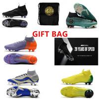 sacs de massage achat en gros de-SAC CADEAU 20ème anniversaire Chaussures de football Mercurial Superfly VI 360 CR7 SuperflyX 6 SG Elite AC Chaussures de soccer haute cheville