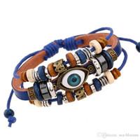 joyas de mal de ojo al por mayor-Pulsera turca del mal de ojo de la vendimia Pulsera de cuero de múltiples capas brazalete pulsera granos del encanto pulseras joyas para hombres mujeres regalo 7 estilo B907SF