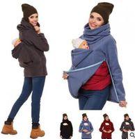 çok fermuarlık kazak toptan satış-Yeni Moda Üç-in-one Çok fonksiyonlu Anne Kanguru Kazak Nedensel Katı Kadın Ceketler Fermuar Bebek Giysileri Kazak