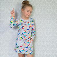 Wholesale Long Sleeve Dress Wholesale - Kidsalon Girls 100% Cotton Long sleeve Casual Princess Dresses Applique Cartoon Baby Girl Dress Lovely Baby Clothing