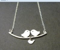 bebek aşk kuşları toptan satış-12 adet / grup Aşk Kuşlar Kolye Kuşlar Aile Kolye Ebeveyn ve Bebek bir Şube kuş Kişiselleştirilmiş İlk Anne Kolye