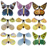 Wholesale paper butterfly toy - Christmas Gifts Funny Magic Flying Butterfly Surprise Prank Practical Jokes Mystical Toys Best Gift For Children