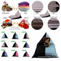 Wholesale kids wholesale clothes stripes online - 9Styles Rhombus Sitting Chair Bean Bags Stripe Storage Bag Kids Stuffed Clothing Storage Bag Plush Toy Organizer kids Chair FFA967