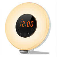 Wholesale round alarm clock light resale online - Alarm Clock Wake Up Light USB Rechargeable Night Light Sunrise Sunset Simulation Alarm Radio Clock with Snooze Function