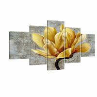 ingrosso pannello verniciato a olio-Fiore giallo e grigio Wall Art Abstract Oil Print on Canvas Home Decor Immagini 5 Pannelli Large Poster Stampato dipinto con cornice Y18102209