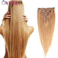 Wholesale clip human hair extensions 8pcs online - Onlyouhair Blonde Brazilian Straight Clip in Human Hair Extensions inch Top Remy Human Hair Clip In Extensions Full Head set