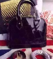 Wholesale girls saddles - Dropshipping Dropshipping ALMA BB shell bag women patent leather flower Embossed shoulder bags with lock crossbody bag handbags.