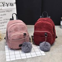 Wholesale suede backpack men for sale - Group buy Suede Easy Matching Backpack Fashion Women Mini Small Backpack With A Fur Ball Square Shape Striped Zipper Shoulder Bags