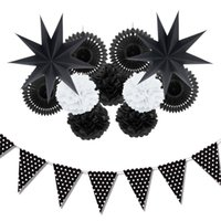 Wholesale star white paper for sale - Group buy 12pc Black White Paper Decoration Set Party Decor Paper Fans Stars For Birthday Party Wedding Baby Showers Garden Space Decor