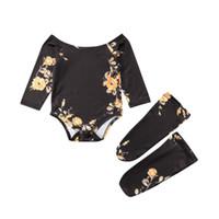 Niñas del hombro Body de flores de la pierna Calentadores de la pierna  Conjunto de ropa de algodón lindo 3PCS Ropa de la niña recién nacido 0-24M aea7003b21e2