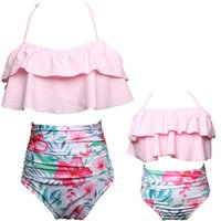 Wholesale family matching winter clothes - Mother Daughter Bikini Mom Girl Floral Print Swimming clothes Women Kids Swimwear Family Match Swimsuit Bathing Beachwear D818