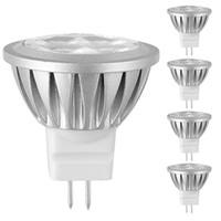 12v ac dc bombillas led al por mayor-MR11 Bombillas LED 3W CA / CC 12V 4 LED 3030 Chips Perlas de lámpara Reflectores LED de aluminio de 300 lúmenes